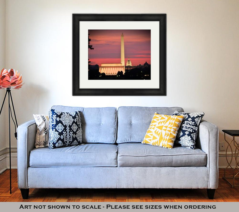 Framed Print, Washington Dc City View Including Lincoln Memorial Washington Monument And