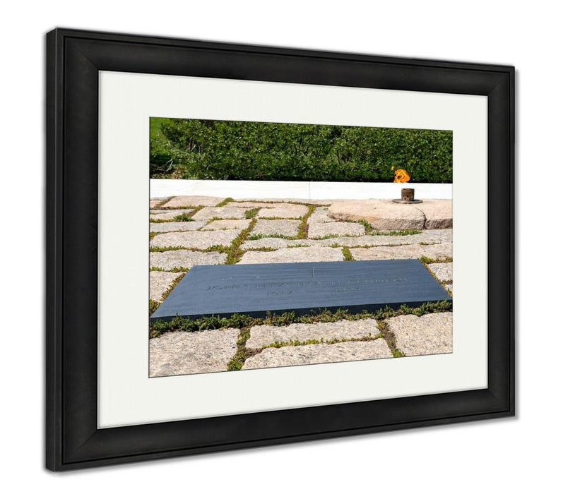 Framed Print, The Eternal Flame And The President John F Kennedy Tombstone At Arlington