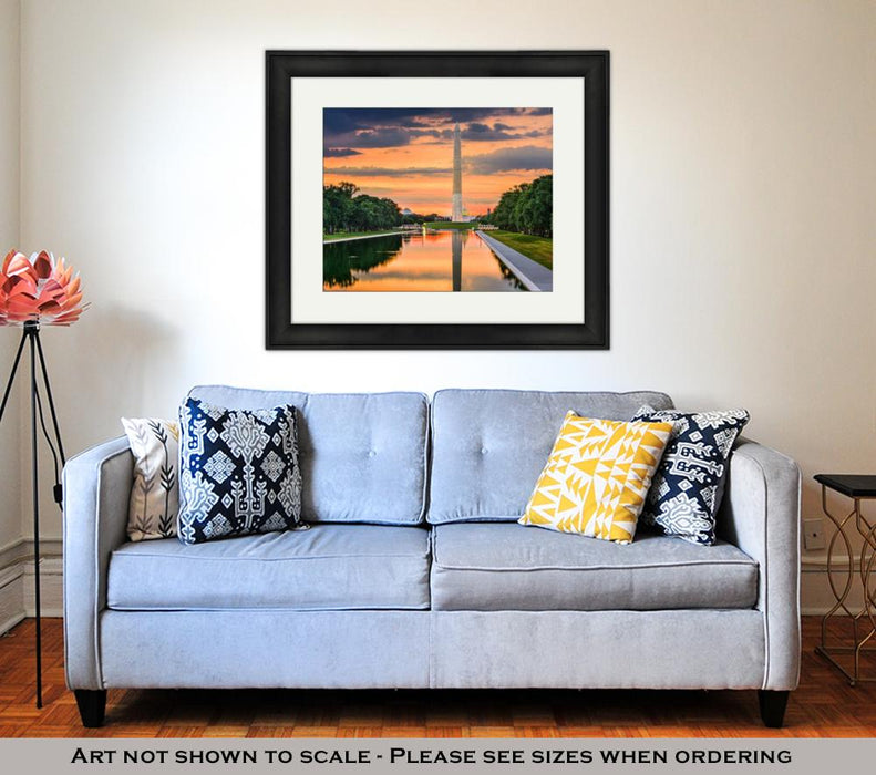Framed Print, Washington Monument On The Reflecting Pool In Washington Dc