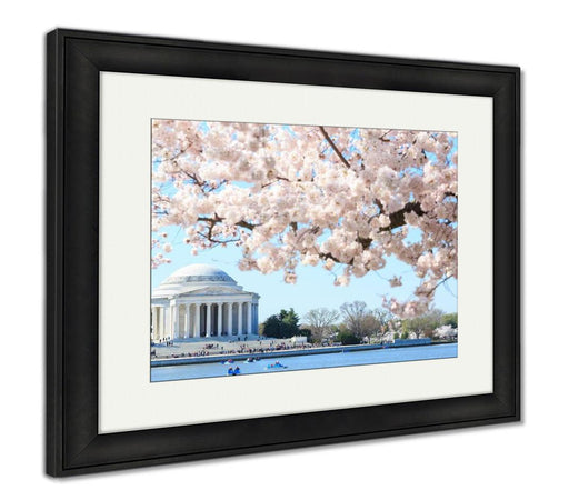 Framed Print, Dawn At The Jefferson Memorial During The Cherry Blossom Festiva