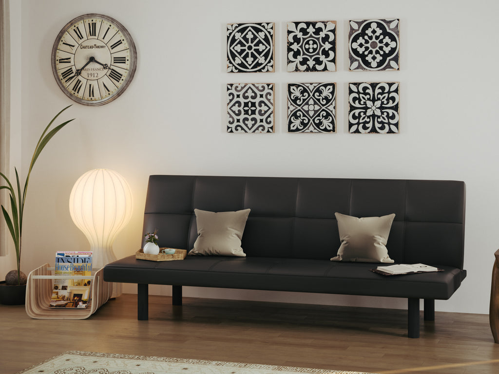 Black Mimosa Three-Seater Sofa cum Bed from Forzza Furniture