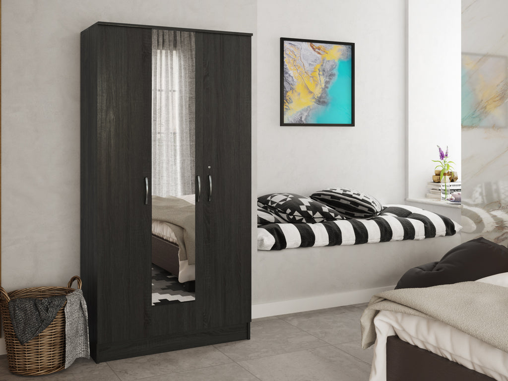 Black Oxford 3-Door Wardrobe from Forzza Furniture