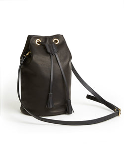 Drawstring Bag with 2 Way Shoulder Strap - L / Black - (ki:ts)