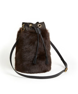 Drawstring Shearling Bag with 2 Way Shoulder Strap - L / Brown Shearling & Black - (ki:ts)