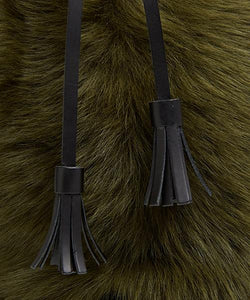 Drawstring Shearling Bag with 2 Way Shoulder Strap - L / Olive Shearling & Black - (ki:ts)