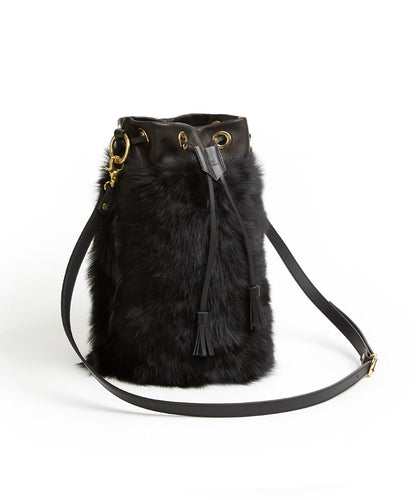 Drawstring Shearling Bag with 2 Way Shoulder Strap - L / Black Shearling & Black - (ki:ts)
