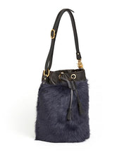 画像をギャラリービューアに読み込む, Drawstring Shearling Bag with 2 Way Shoulder Strap - L / Navy Shearling & Black - (ki:ts)