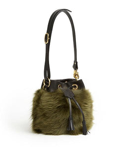 Drawstring Shearling Bag with 2 Way Shoulder Strap - S / Olive Shearling & Black - (ki:ts)