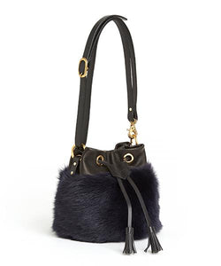 Drawstring Shearling Bag with 2 Way Shoulder Strap - S / Navy Shearling & Black - (ki:ts)