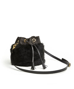 Drawstring Shearling Bag with 2 Way Shoulder Strap - S / Black Shearling & Black - (ki:ts)