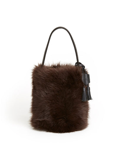 I-O Fur Bucket - S / Brown Shearling & Black - (ki:ts)