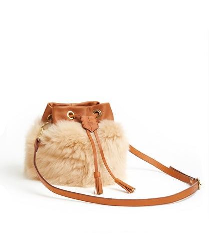 Drawstring Shearling Bag with 2 Way Shoulder Strap - S / Biscuit Shearling & Tan - (ki:ts)