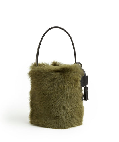 I-O Fur Bucket - S / Olive Shearling & Black - (ki:ts)