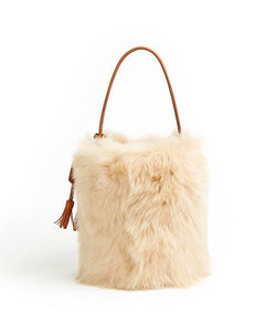 I-O Fur Bucket - S / Biscuit Shearling & Tan - (ki:ts)