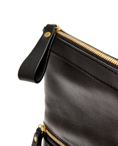 Fold Purse with shoulder strap / Black - (ki:ts)