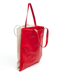 Twins Shopper / Cherry Red & Cafe Latte - (ki:ts)