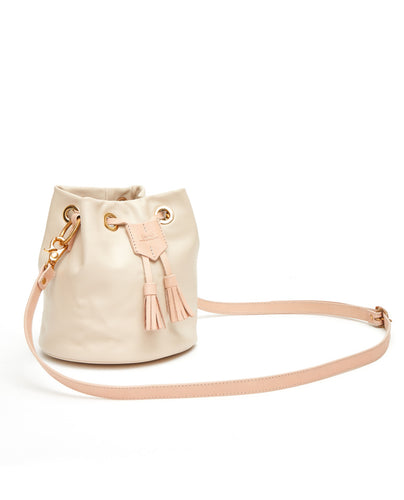 Drawstring Bag with 2 Way Shoulder Strap - S / Cafe Latte - (ki:ts)