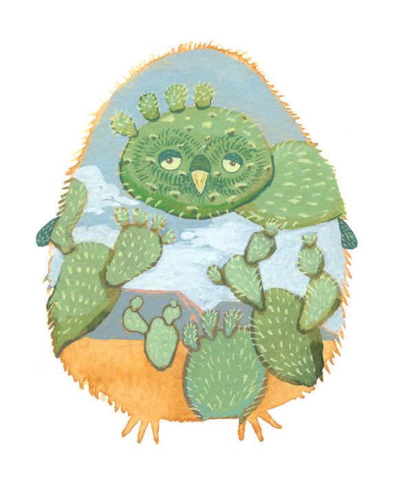 desert owl southwestern cactus nursery art, bird nursery art, baby room decor, nursery wall decor, baby girl nursery art, nursery wall art, woodland nursery decor, nursery themed, nursery art, baby boy room decor,  woodland animal nursery decor