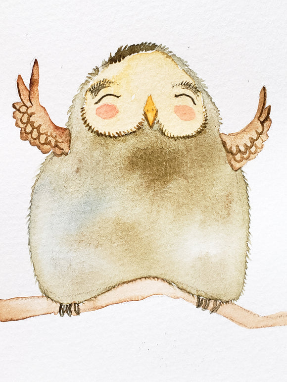 Happy owl watercolor painting