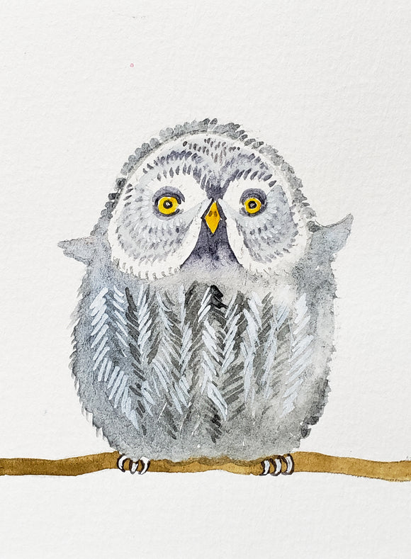 great grey owl watercolor painting