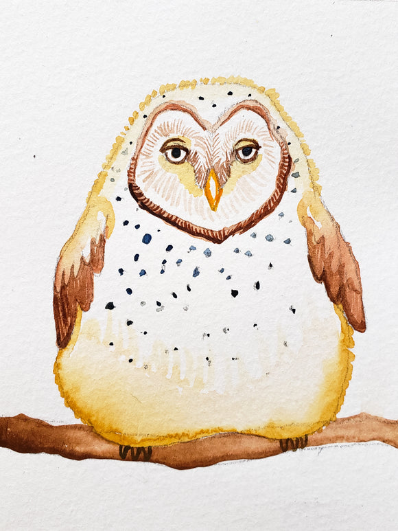 Cute barn owl watercolor painting