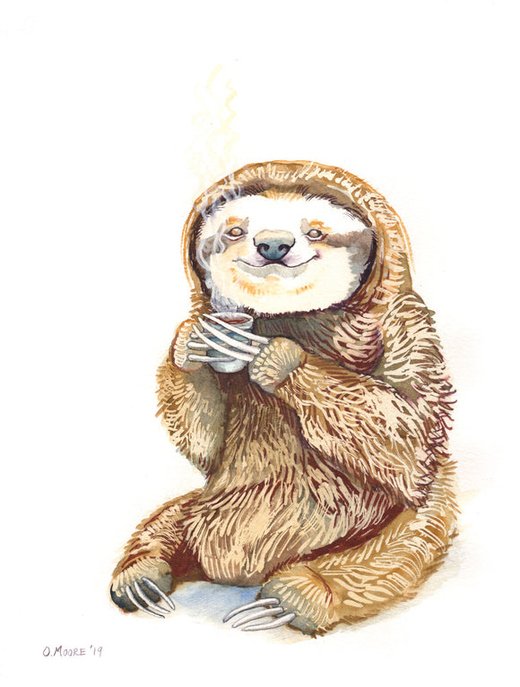 Sloth's Morning Coffee - Art Print