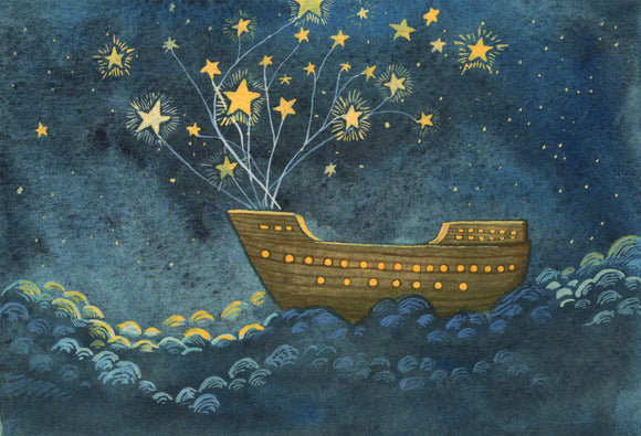 Ship sailing in the stars, explore adventure baby room decor, nursery wall decor, nursery wall art, nursery themed, nursery art, baby boy room decor, nautical nursery decor