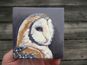 "Barn Owl - An original acrylic painting on a miniature canvas 3""x3"""