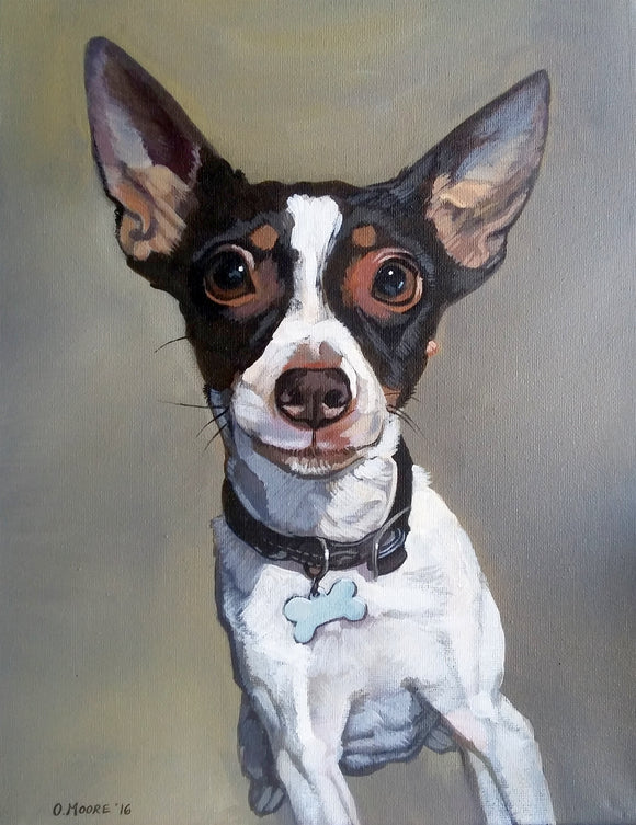 Dog portrait painting, custom pet portrait commission acrylic painting