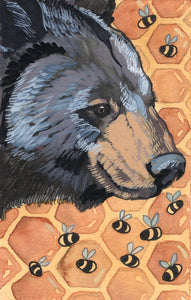 Black Bear and Bees - Art Print
