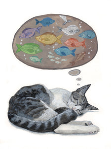 cat art print, watercolor print, cat owner art