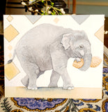"Elephant Painting - ""Peanut"" - Original watercolor painting"