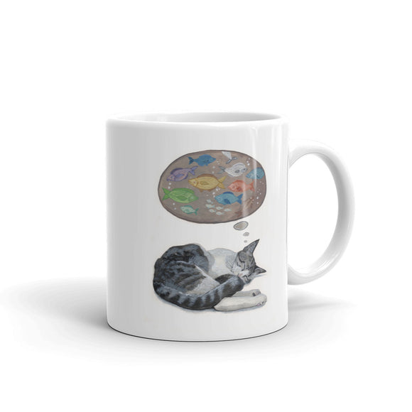 Cat Mug - Dreaming of Fish