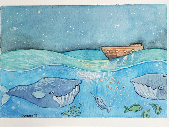 Ocean illustration - Original Watercolor Painting - Whale watercolor