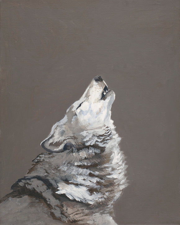 Wolf Howling At The Moon- Art Print