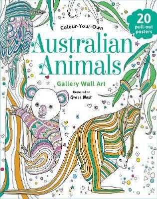 Australian Animals ~ mindful poster art ~ colour your own by Grace West