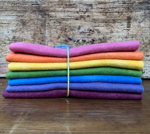 Hand Dyed Wool Felt ~ 7 Autumn Rainbow colours in various sizes