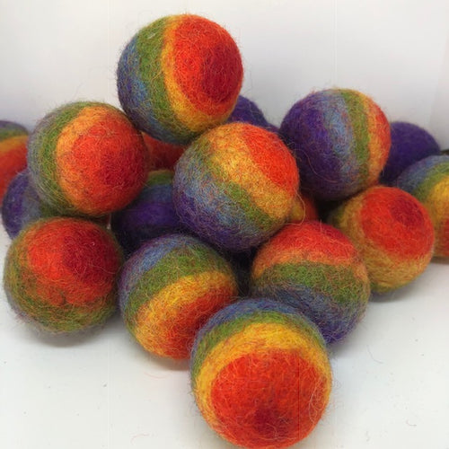 Rainbow felt balls ~ wool felt ~ fair trade