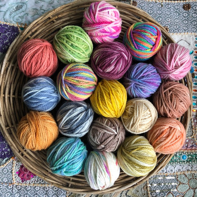 ten 50gm different balls of hand painted wool/yarn in 16ply