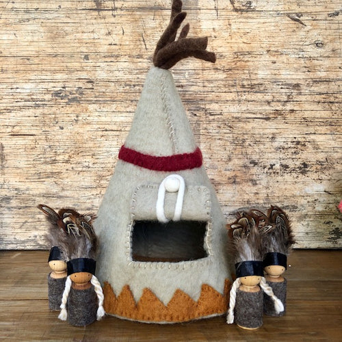 Wool Felt Teepee with or without wooden Indian play figures