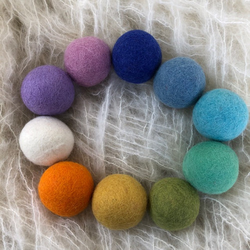 5cm wool felt balls ~ Spring pom poms ~ fair trade