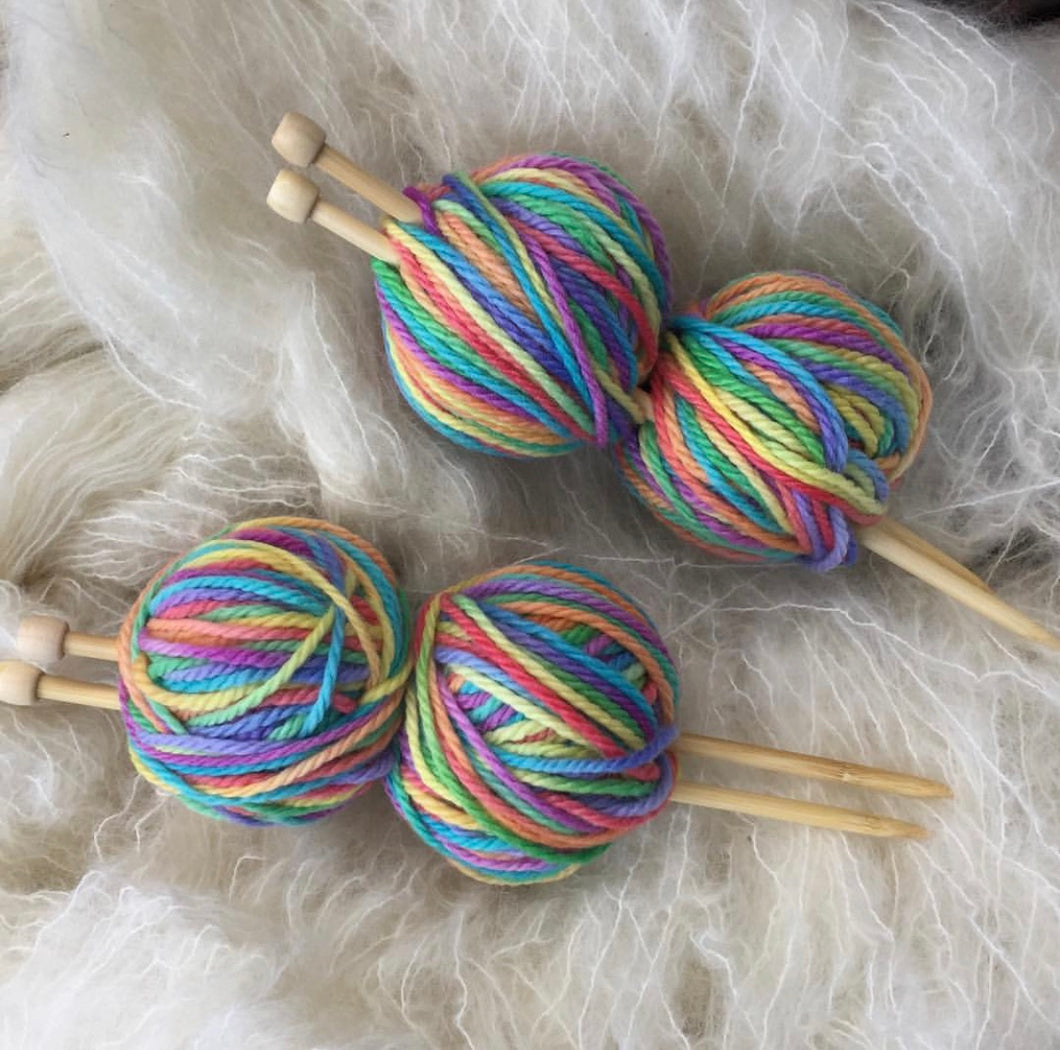Knitting Kit~Bamboo Needles & Rainbow Hand Painted Wool (choose your amount of wool)