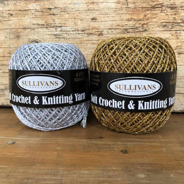 Gold/Silver 4ply crochet craft thread