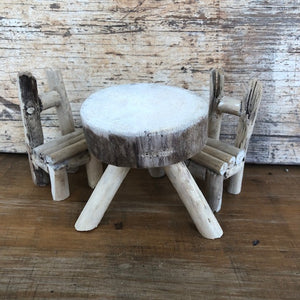 Wooden dolls house table + chairs ~ with or without rainbow gnomes