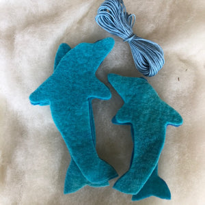 Dolphin Duo to make ~ Hand dyed pure wool felt