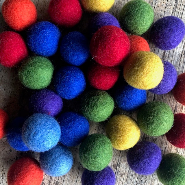 3.5cm wool felt balls ~ 7 individual rainbow colours ~ fair trade