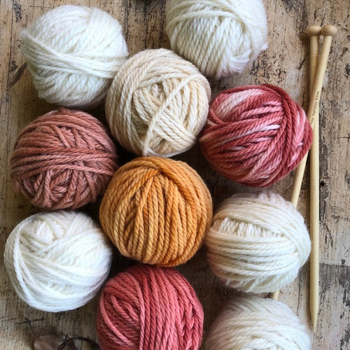 10 x 50g balls of wool ~ 5 natural + 5 earthy tones (with or without 8mm bamboo knitting needles)