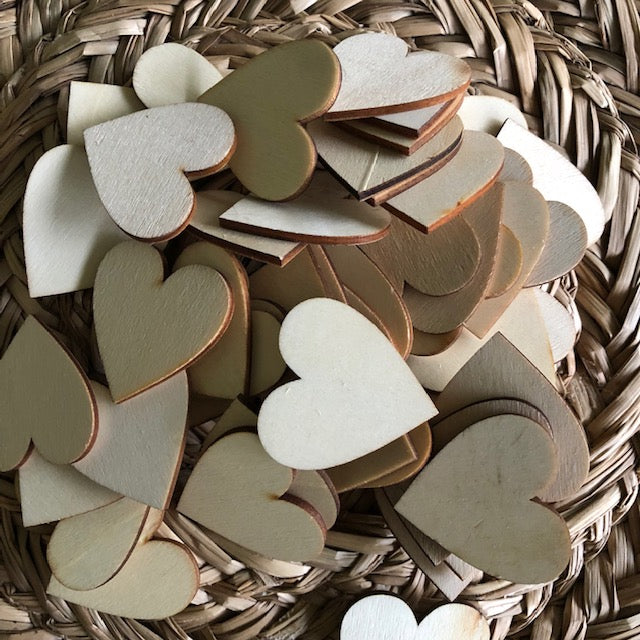 Wooden heart discs ~ 4cm ~ sensory + loose parts play ~ 10 pack