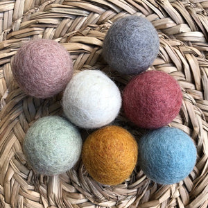 3.5cm wool felt balls ~ 7 individual earthy tones ~ fair trade