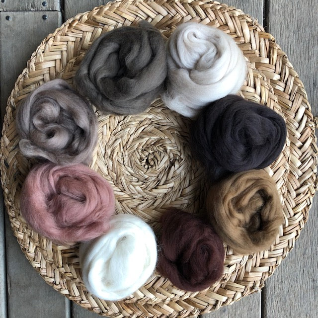 Earthy browns + Cream Felting Kit